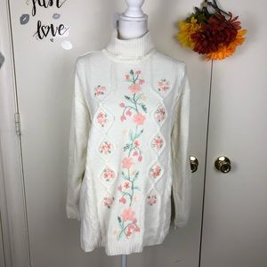 CAROLYN TAYLOR LUXURY CABLE KNIT SWEATER FLORAL LG